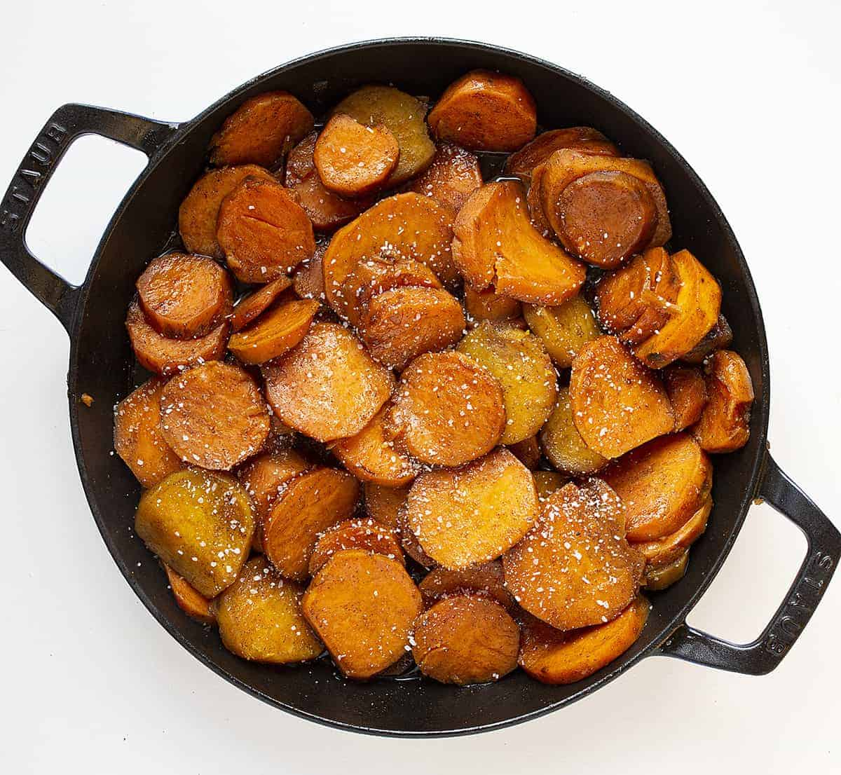 Overhead Skillet of Candied Yams Recipe