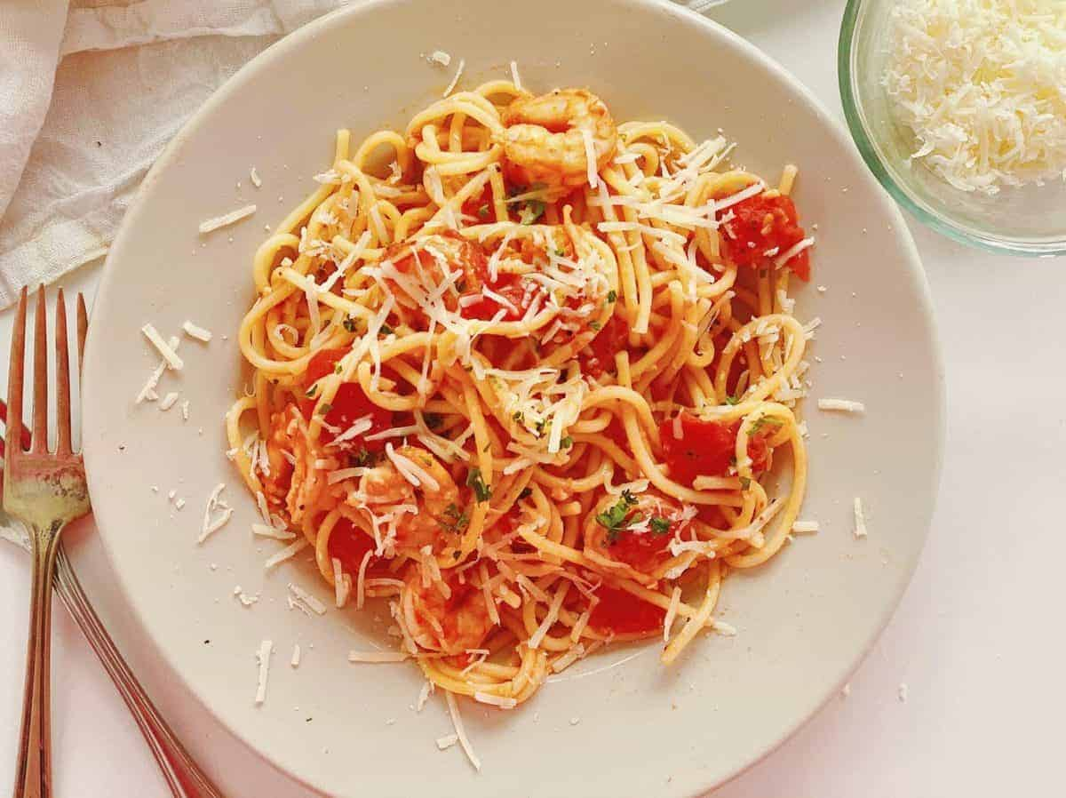 Overhead of plate of Shrimp Pasta with Tomatoes