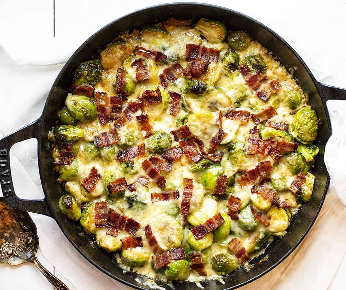 Overhead View of Creamy Cheesy Brussel Sprouts with Gruyere