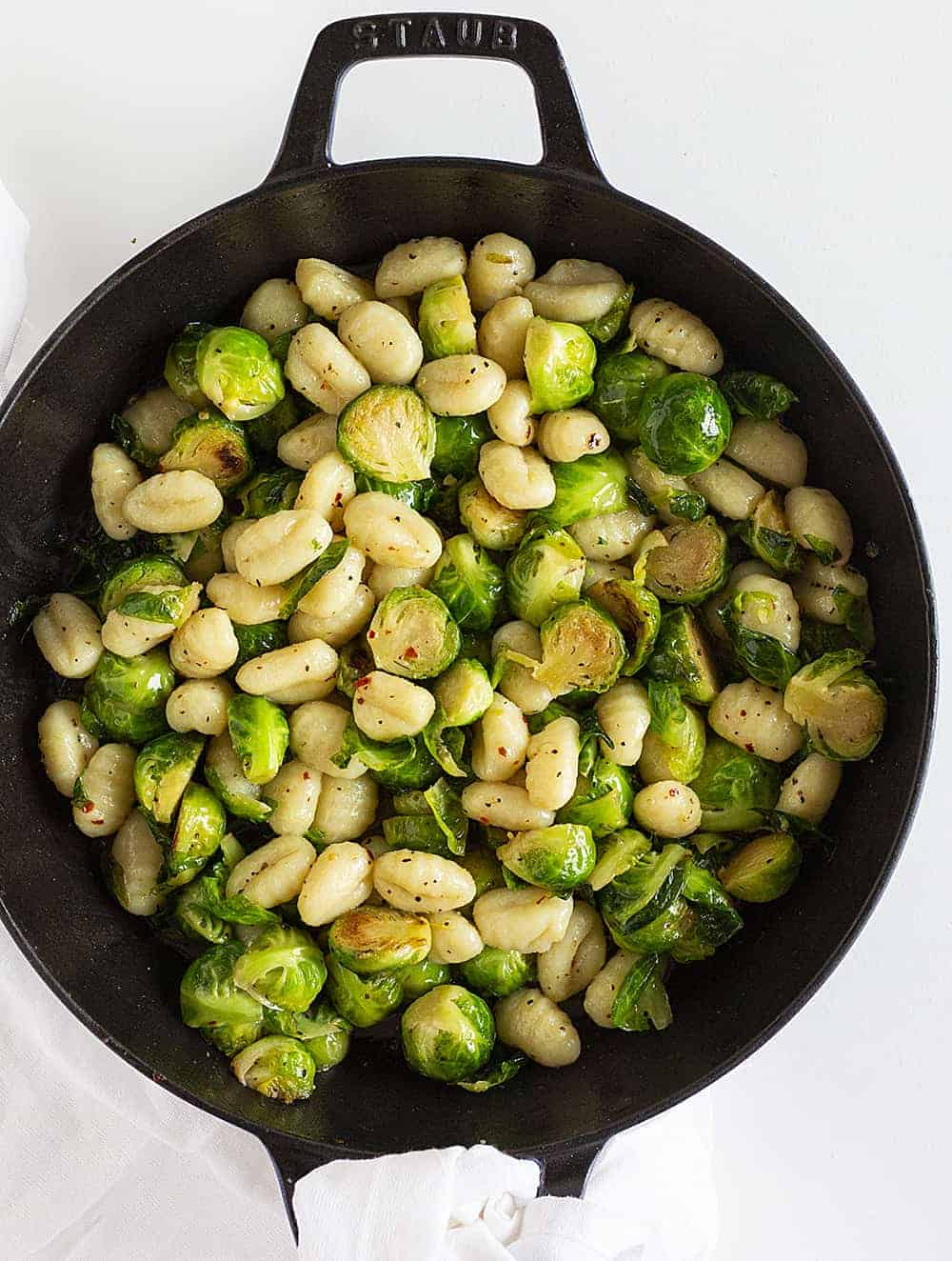 Overhead of Gnocchi with Brussels Sprouts in Skillet