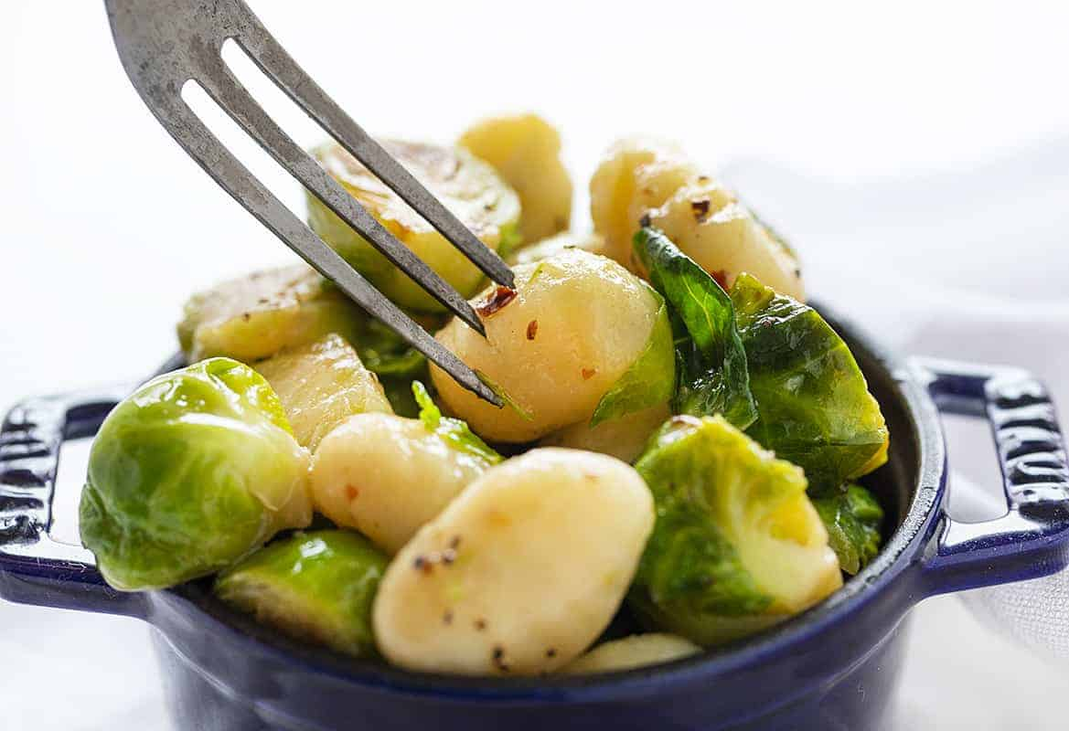 Fork with Gnocchi with Brussels Sprout on it