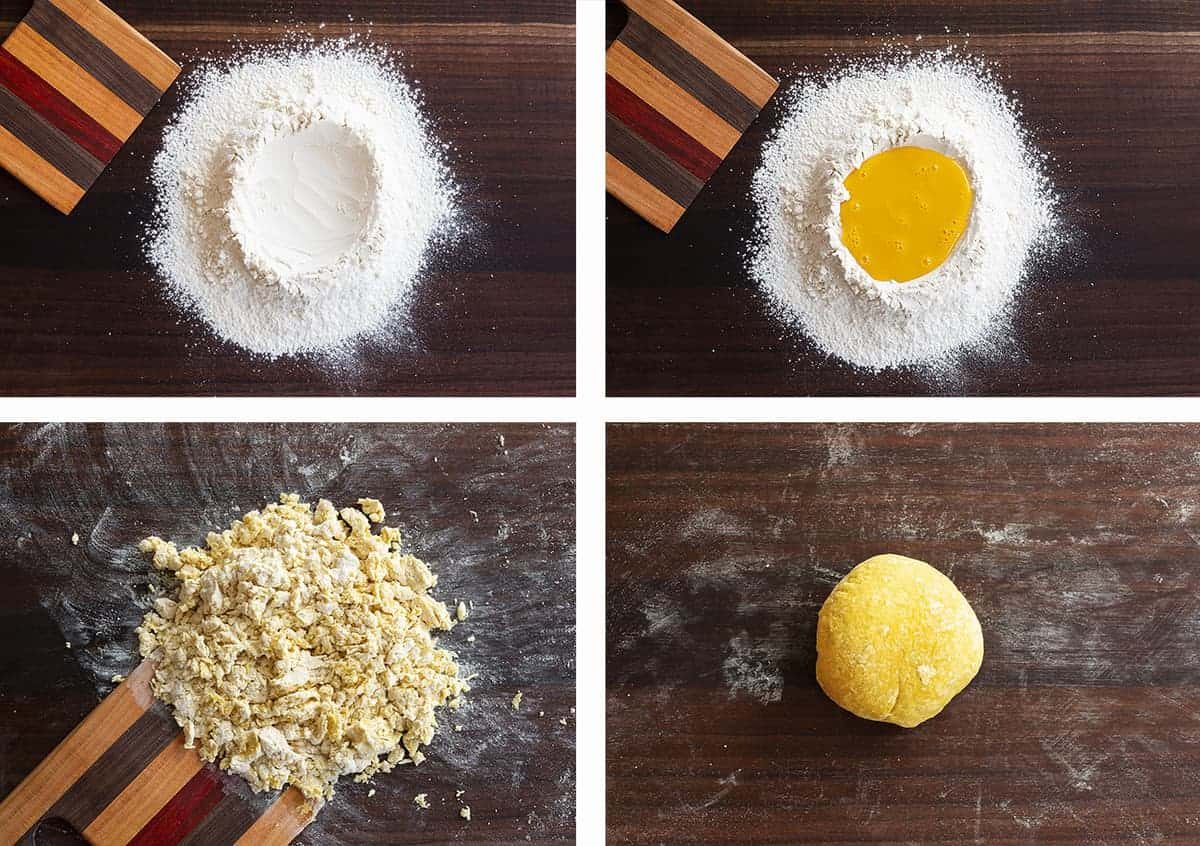 How to Make Homemade Linguini - a collage of the process