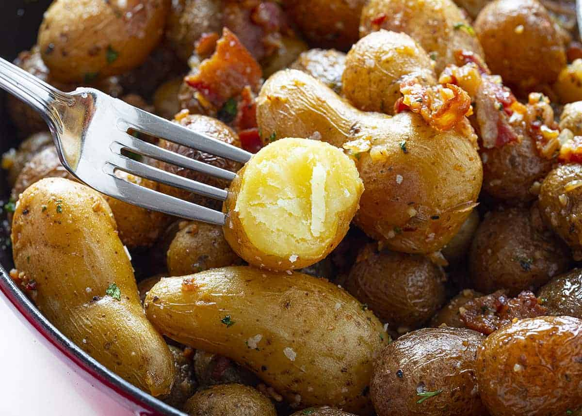 One perfectly cooked Roasted Potatoe with Bacon