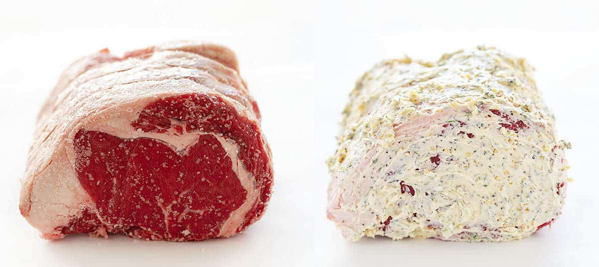 Prime Rib raw and coated with butter