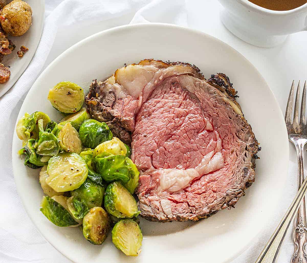 Prime Rib on a White Plate