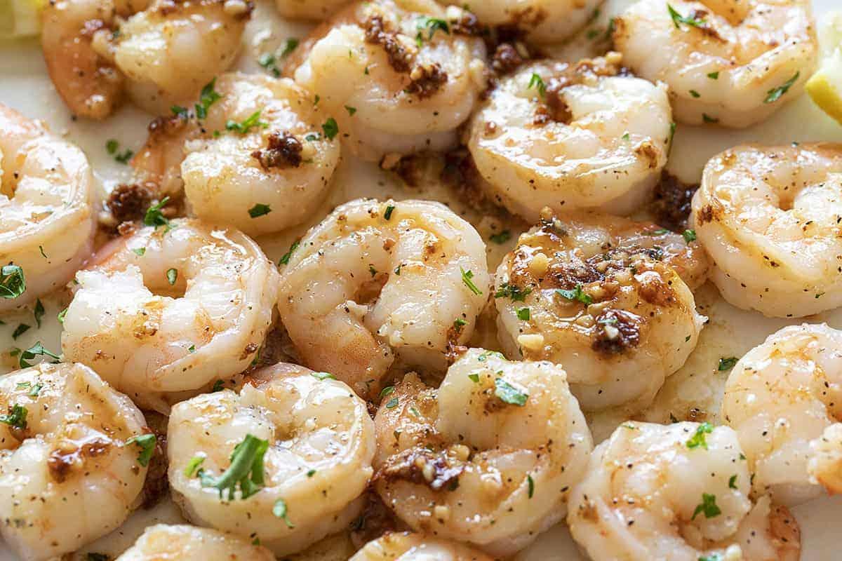 Shrimp Scampi on a White Plate
