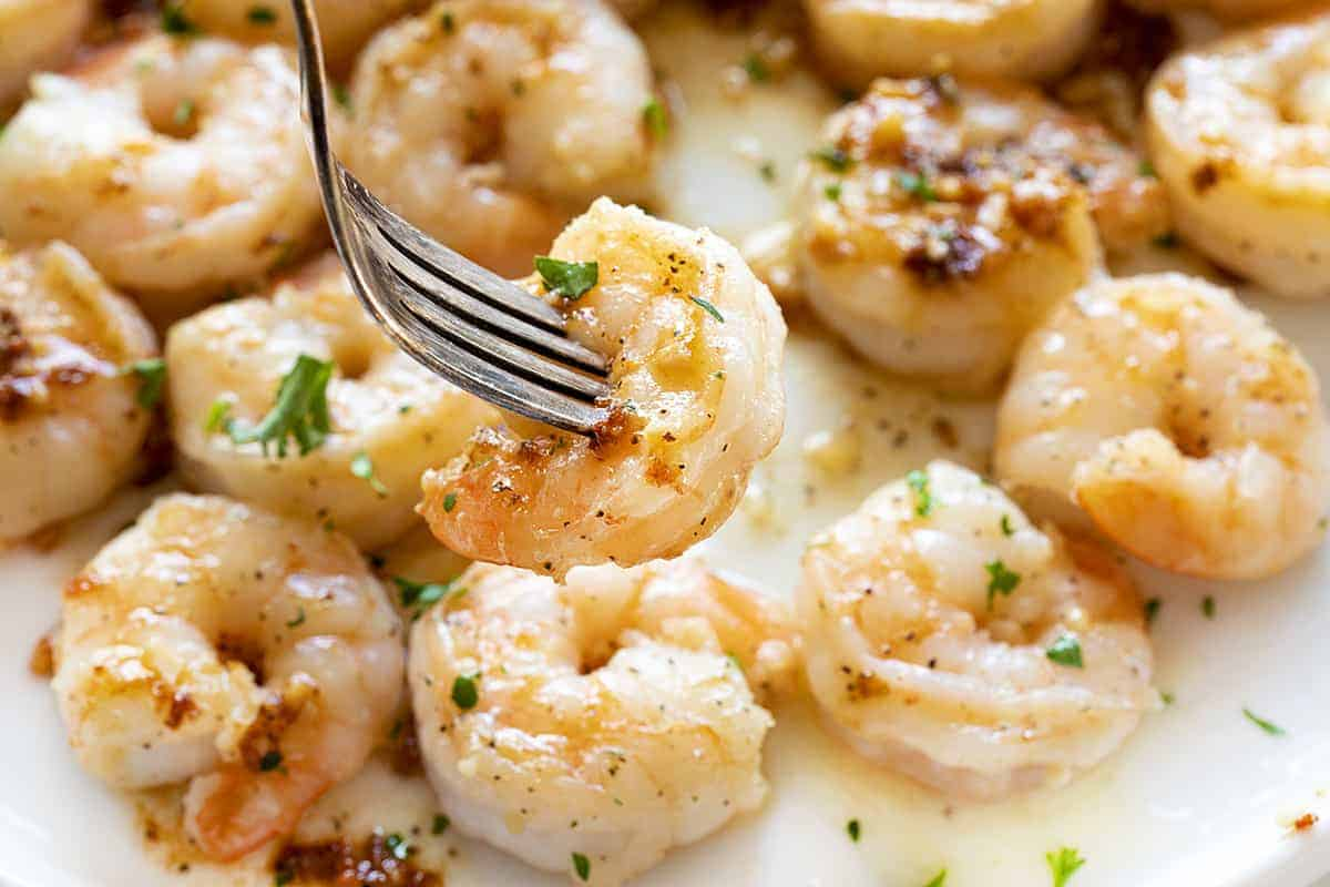Fork with Shrimp Scampi on a White Plate