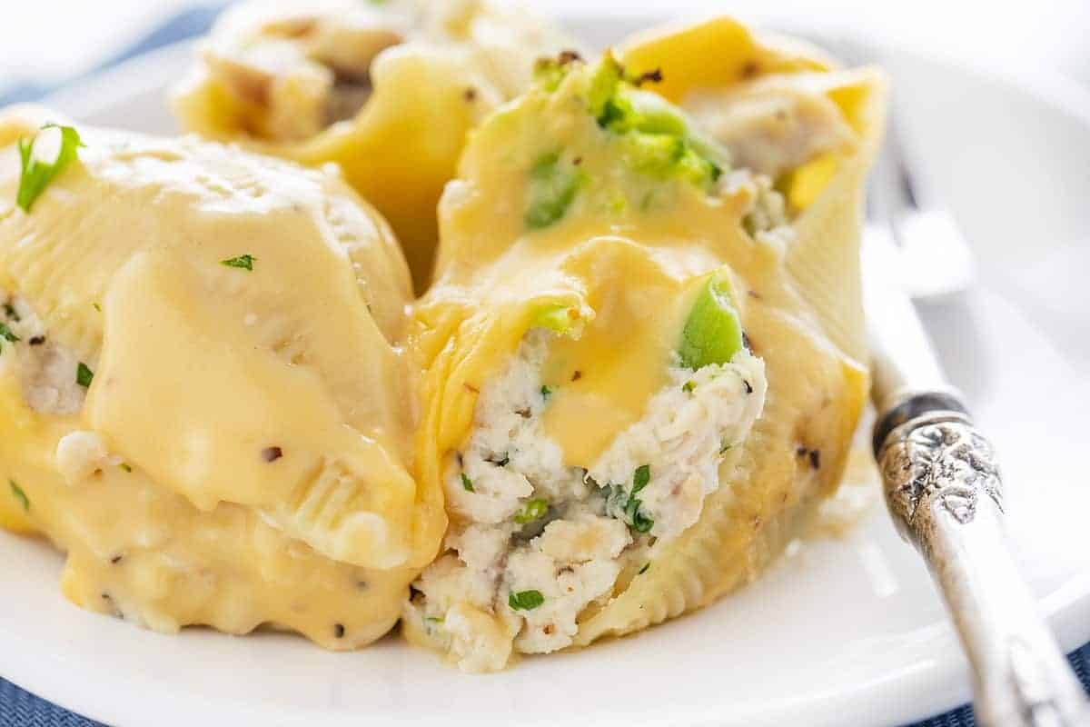 Chicken Broccoli Stuffed Shells on White Plate with Fork