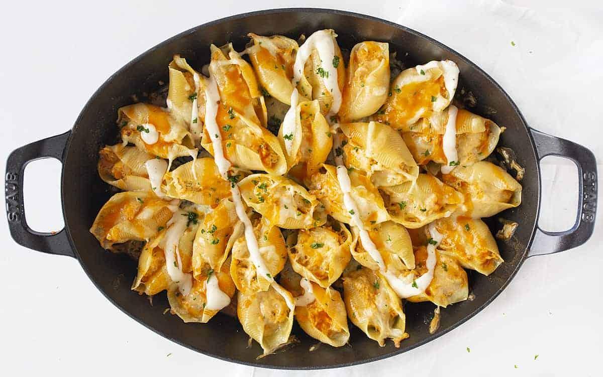 Buffalo Chicken Stuffed Shells in a Skillet