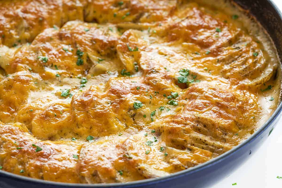 Skillet of Cheesy Ranch Scalloped Potatoes