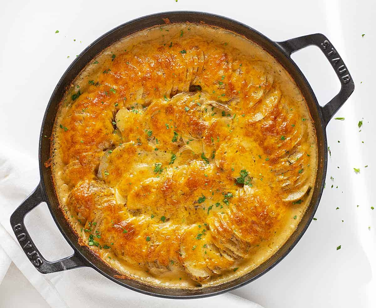 Overhead of Cheesy Ranch Scalloped Potatoes in Skillet