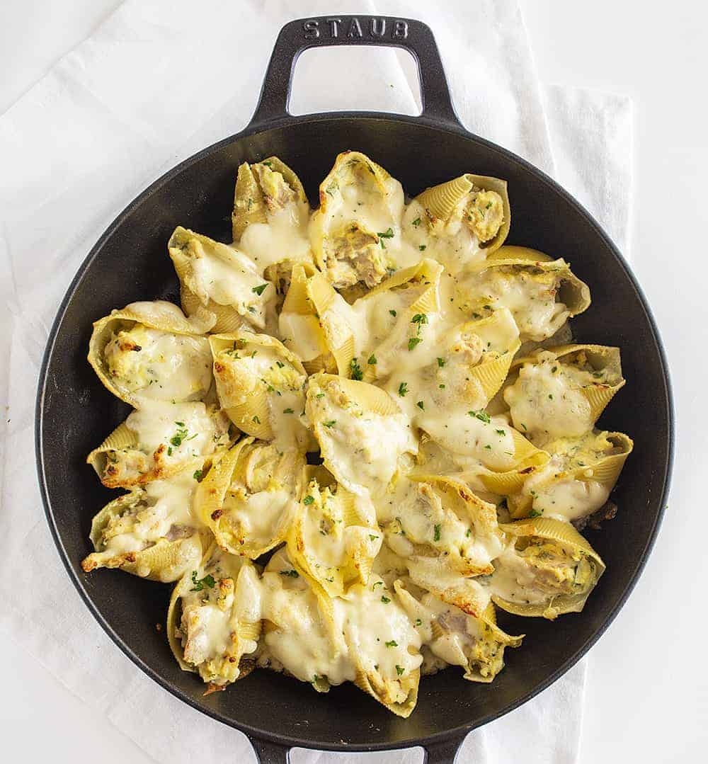 Overhead View of Chicken Alfredo Stuffed Shells in Skillet