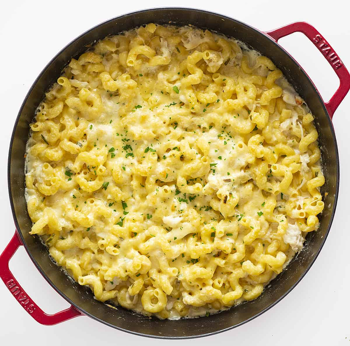 Overhead view of Crab and Macaroni and Cheese in a Red Skillet