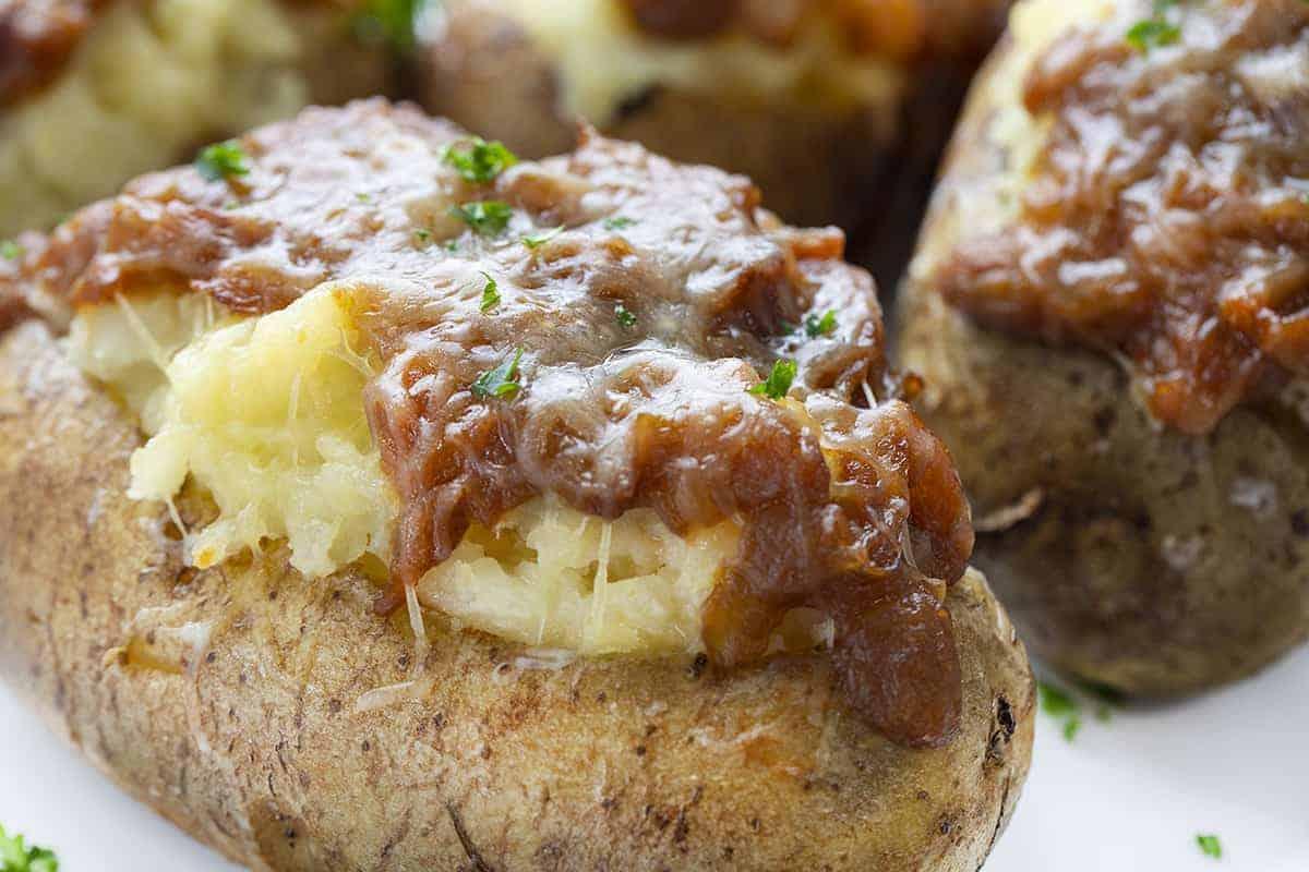 Close up of French Onion Twice Baked Potato