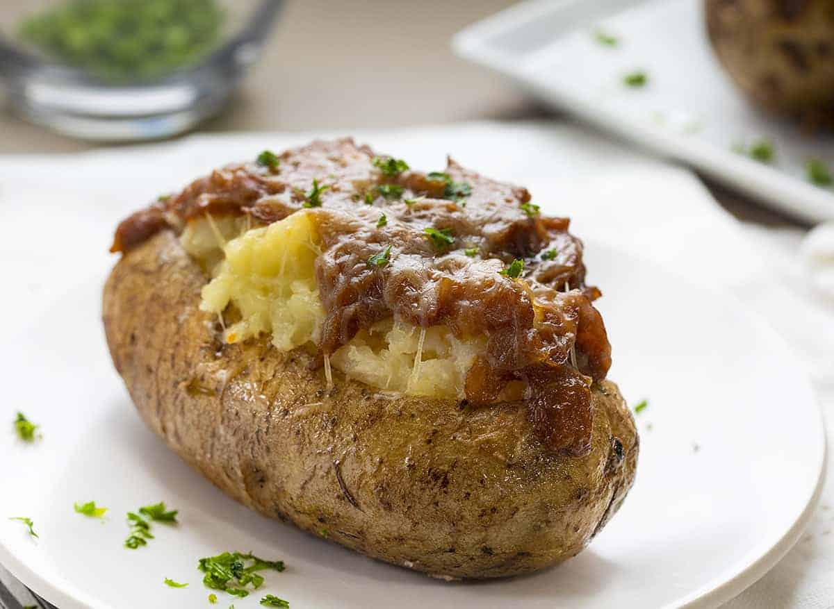 French Onion Twice Baked Potato on White Plate