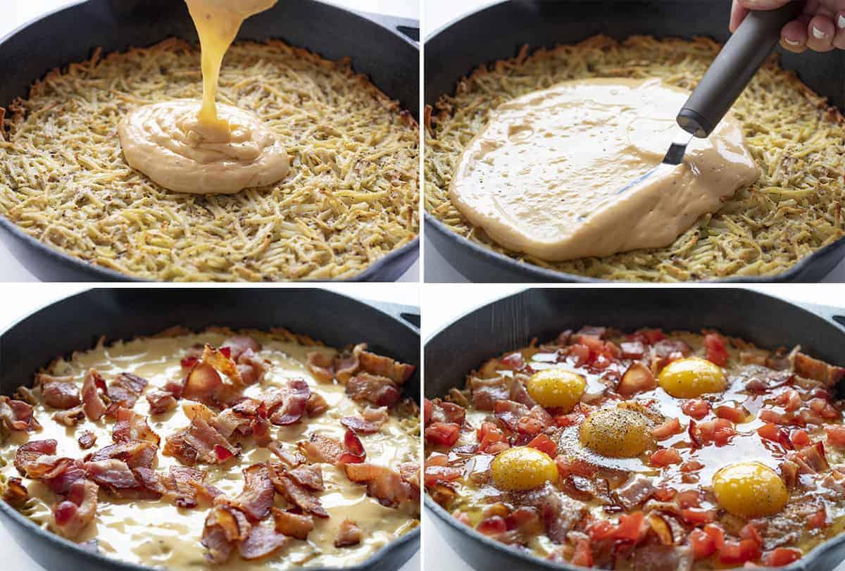Steps for Making Hash Brown Breakfast Skillet