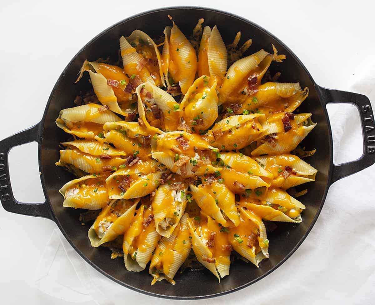 Overhead View of Jalapeno Popper Stuffed Shells in a Skillet
