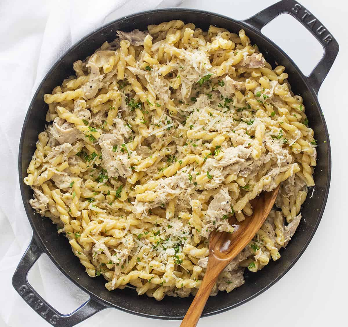 Easy Lemon Chicken Pasta in a Skillet