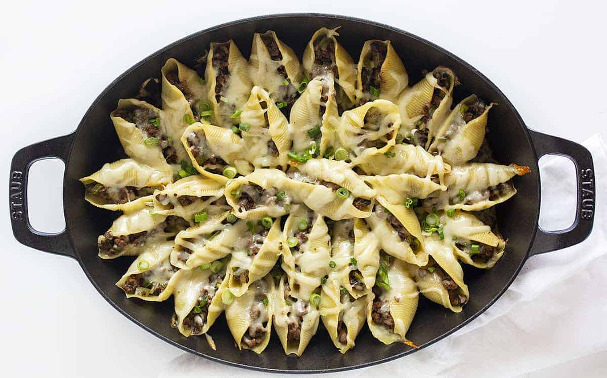 Overhead Pan of Sloppy Philly Stuffed Shells with Melted Cheese