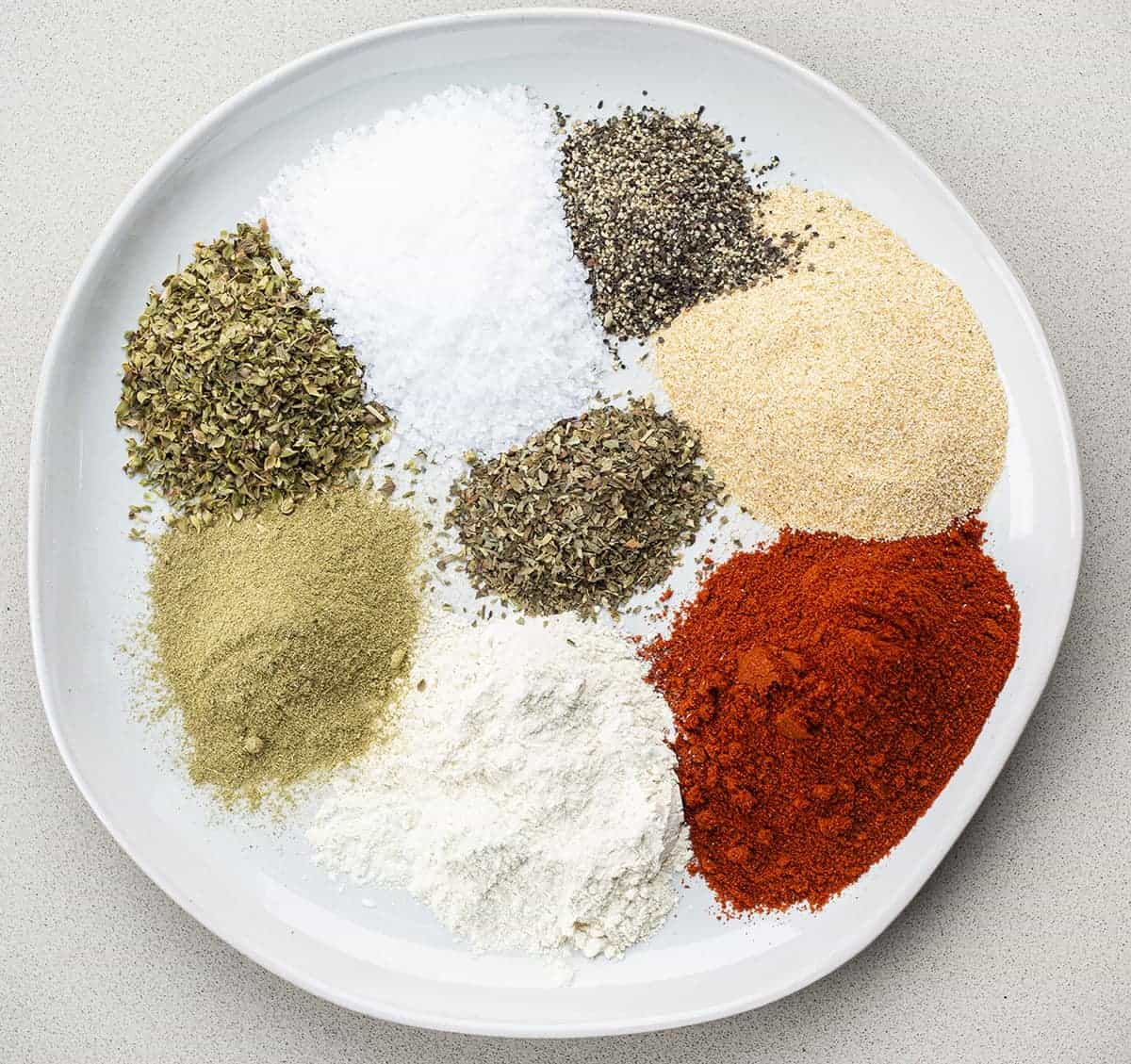 Homemade Blackened Seasoning Recipe Ingredients on a Plate