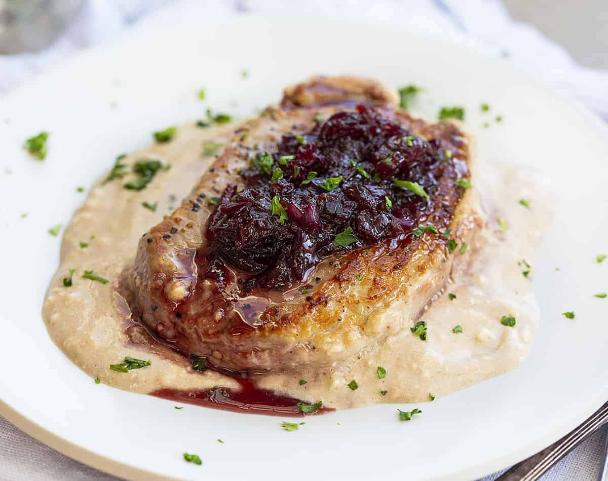 Cherry Pork Chops Recipe On White Plate