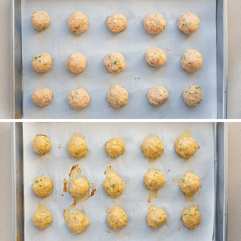 Raw & Cooked Chicken Meatballs on a Sheet Pan