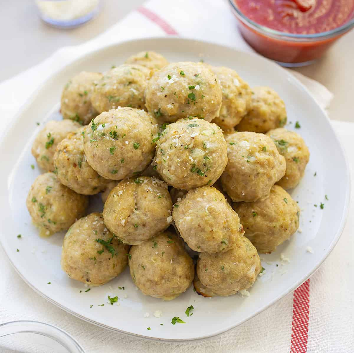 Chicken Meatballs on a White Plate