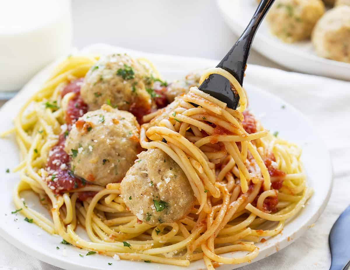 Forkful Chicken Meatball Spaghetti
