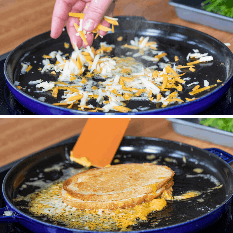 Process Pictures for How to Make Crispy Cheese for Grilled Cheese