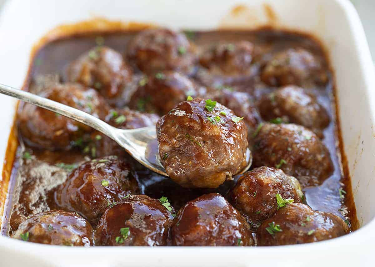 Honey BBQ Meatballs with One on a Spoon