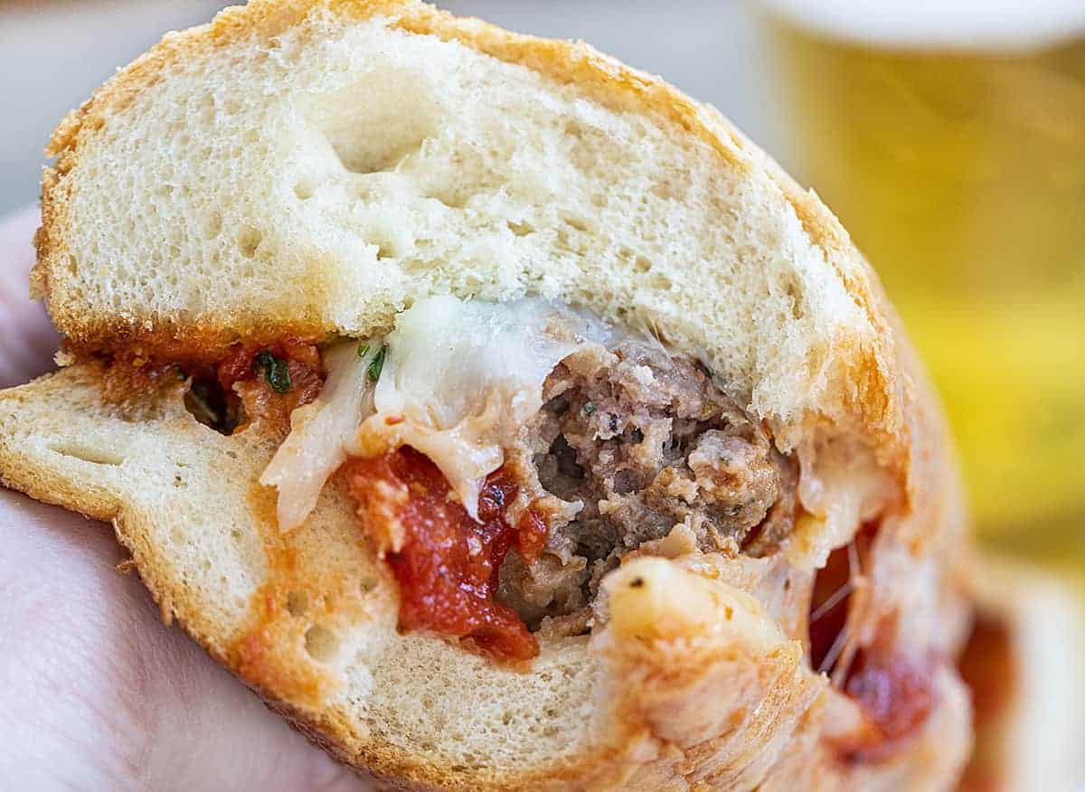 Bit into Stuffed Meatball Hoagie