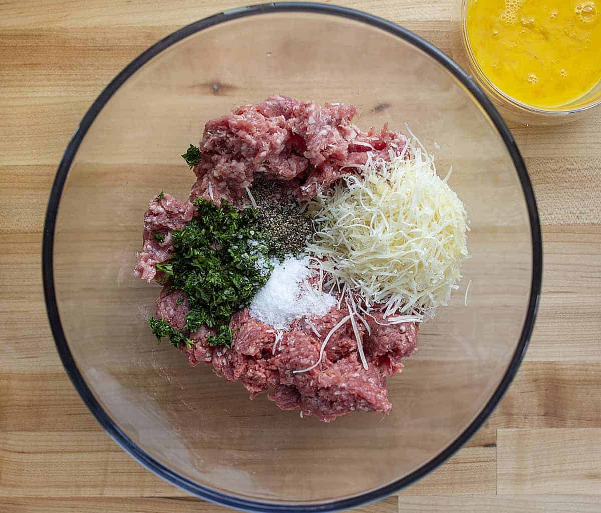 Raw Ingredients for Meatballs from Overhead