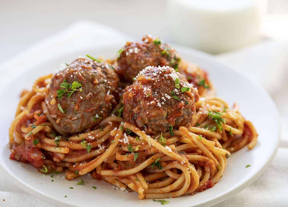 Totally mixed together Spaghetti and Meatballs