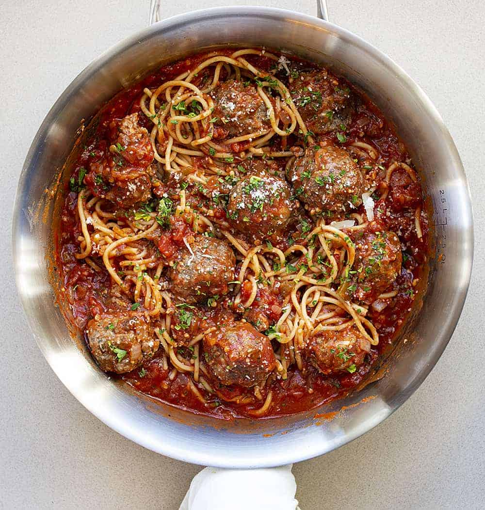Spaghetti and Meatballs in a Saute Pan From Overhead