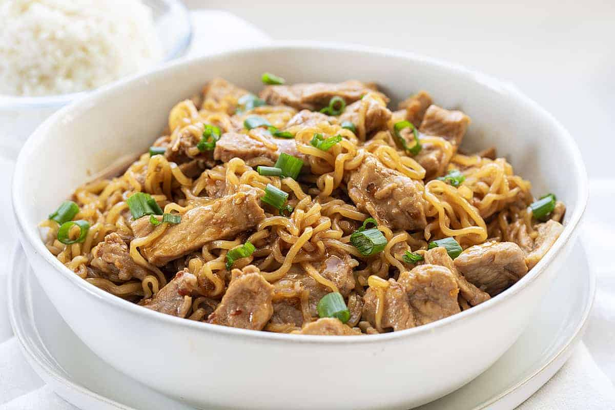 Easy Spicy Pork Noodles in White Bowl