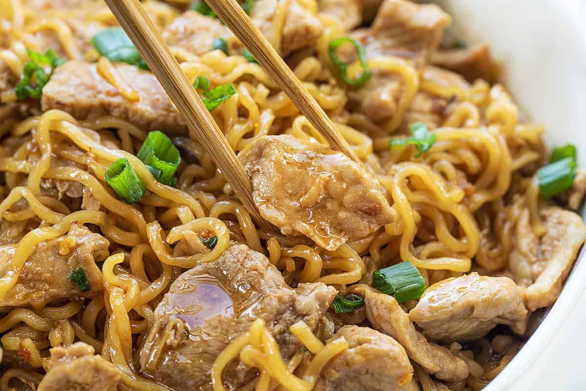 Picking Up Easy Spicy Pork Noodles with Chopsticks