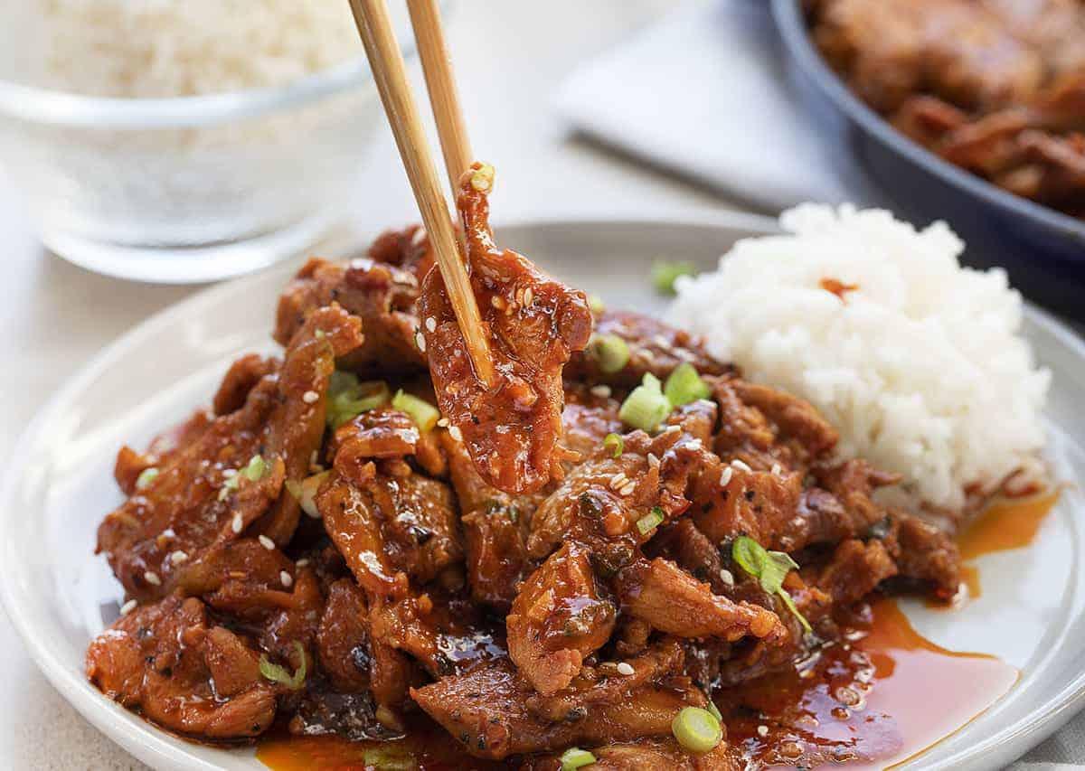 Picking up Easy Korean BBQ Pork Recipe with Chopsticks