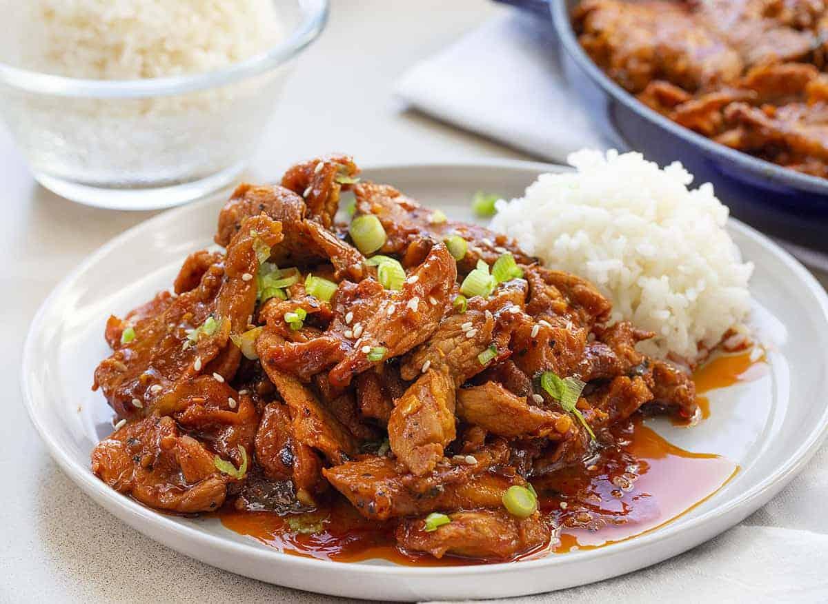 Easy Korean BBQ Pork Recipe on White Plate with White Rice