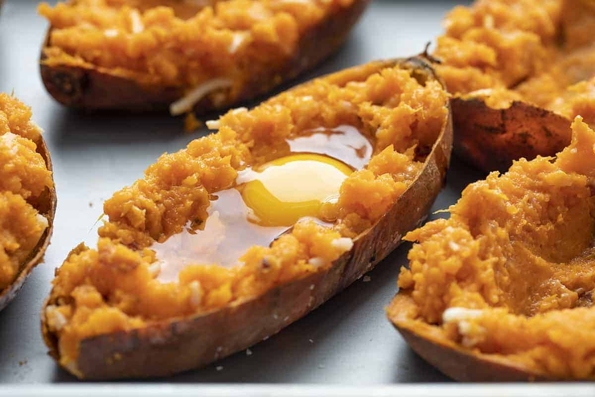 Adding Egg to Twice Baked Breakfast Sweet Potatoes