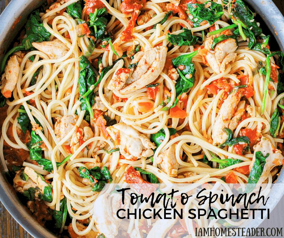 Tomato Spinach Chicken Spaghetti