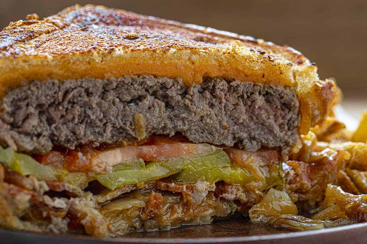 Close up of the Inside of a Bacon Cheeseburger Patty Melt