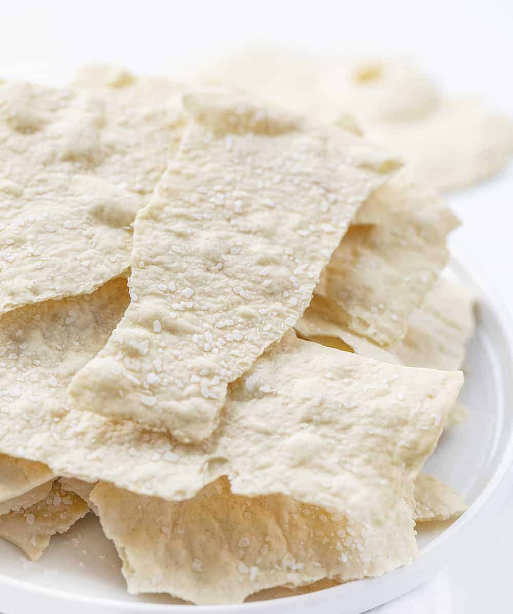 Sourdough Crackers on White Plate Stacked High