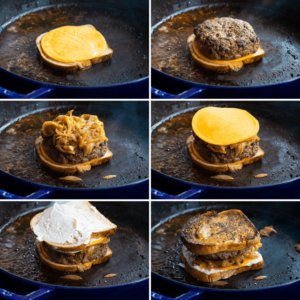 Process Images of the Layers Being added to Patty Melt Sandwich
