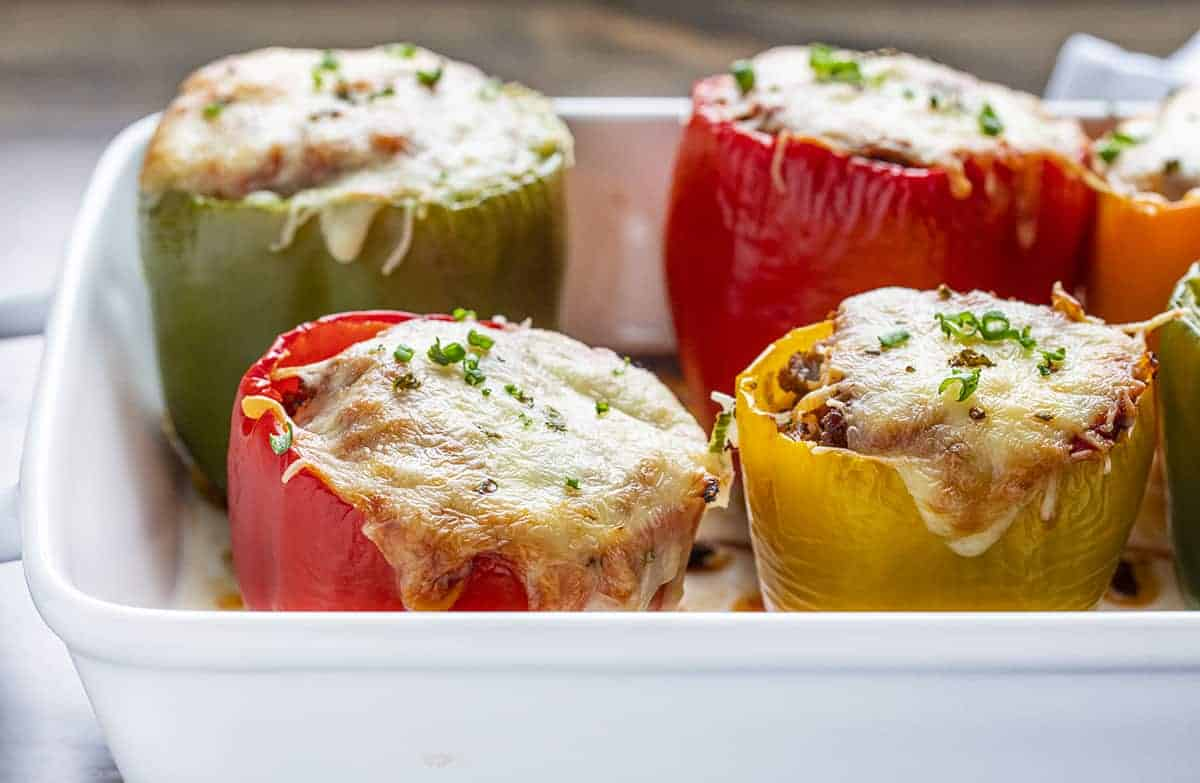 Stuffed Peppers standing in What Casserole Pan