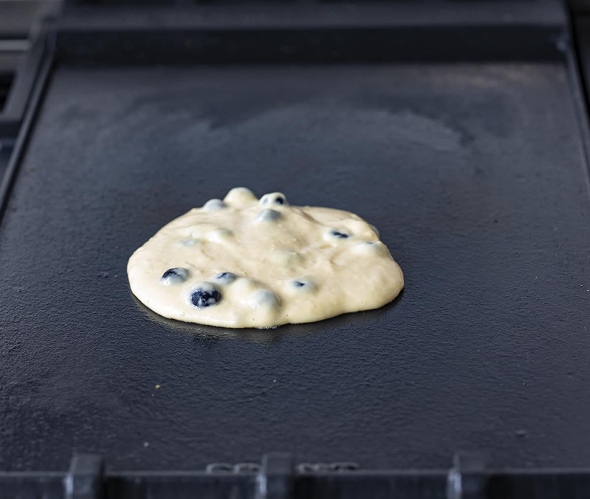 Raw Blueberry Sourdough Pancake Batter on Hot Griddle