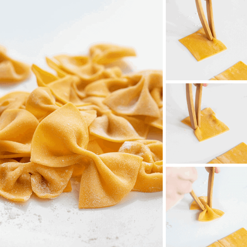 Four images Showing the Steps to Making Bowtie Pasta and Final Piece of Pasta