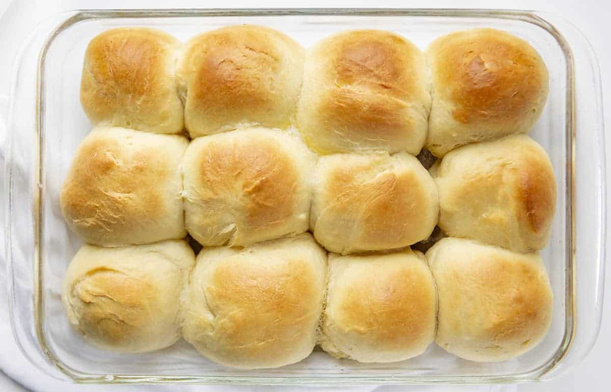 Overhead image of Texas Roadhouse Rolls After Being Baked and Covered in Butter