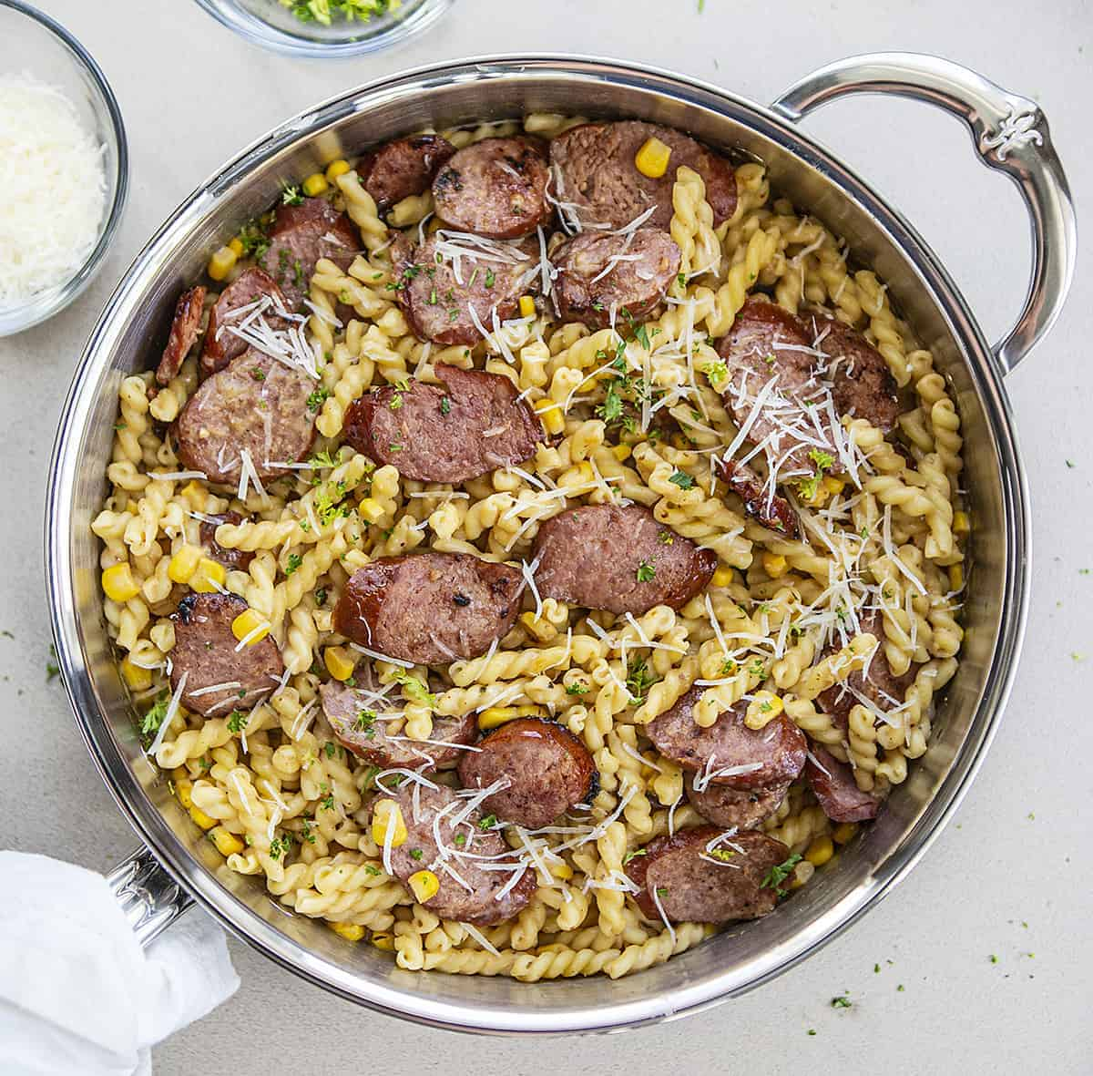 Overhead View of Smoked Sausage Pasta in Hestan Skillet