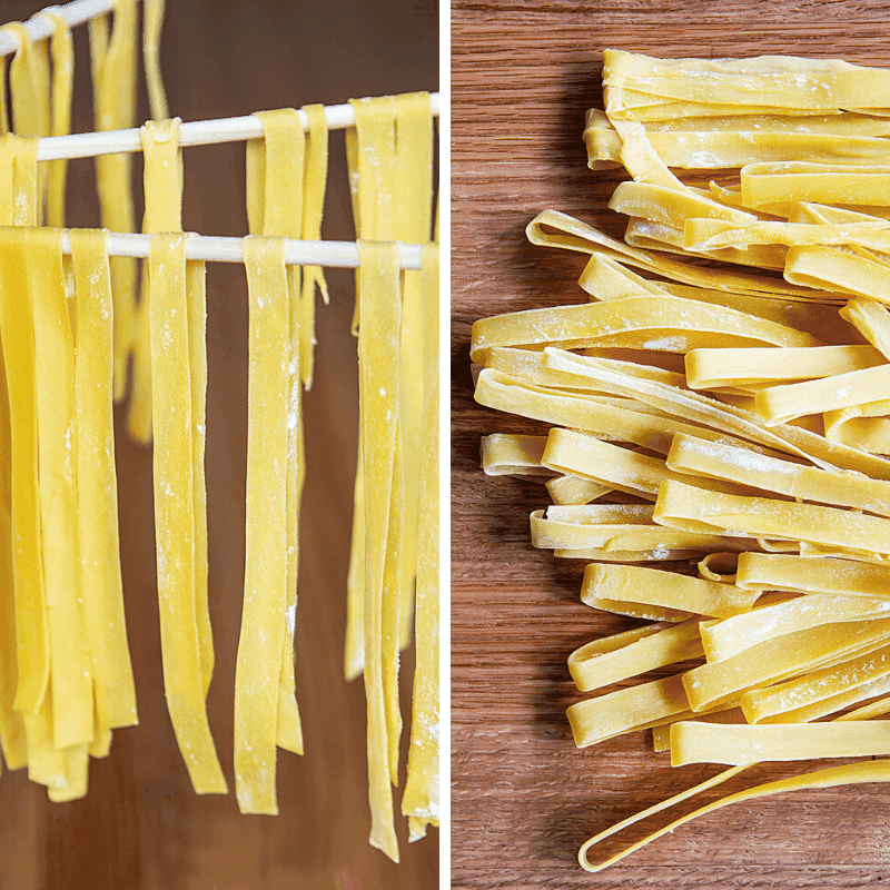 How to Hang Out Cut Pasta to dry and an image of pasta after is has dried on a butcherblock counter