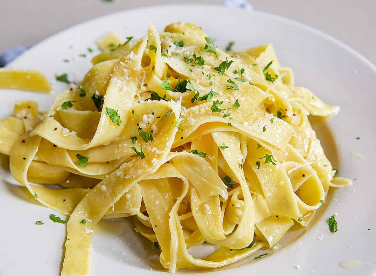 White Bowl of Sourdough Pasta Noodles in Butter Sauce